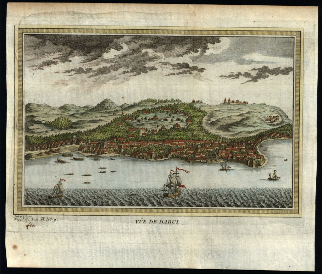 Dabhol Dabul India c.1750 birds-eye city view tall ships lovely hand color