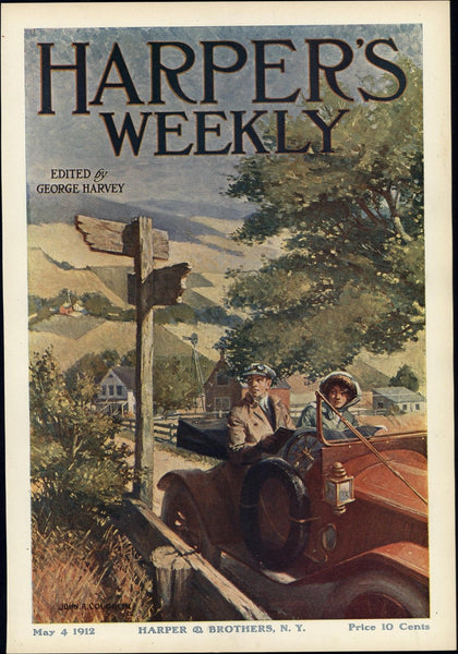 Coughlin early automobile car cover art 1912 vintage Harper's color print
