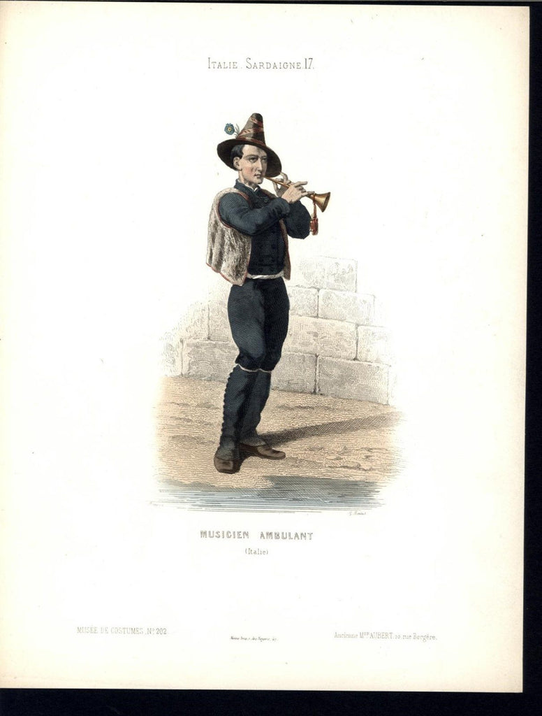 Italian Traveling Musician Brass c.1870 vintage old hand color costume print