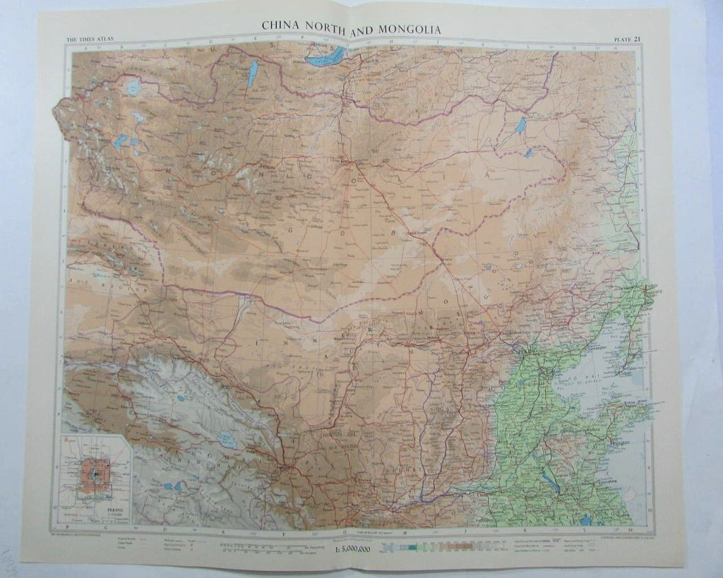 China north Mongolia Peking c.1950's wonderful large detailed vintage color map