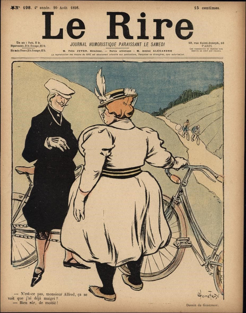 Bicycles bicyclists Godefroy cover art 1898 vintage  French Art Nouveau print