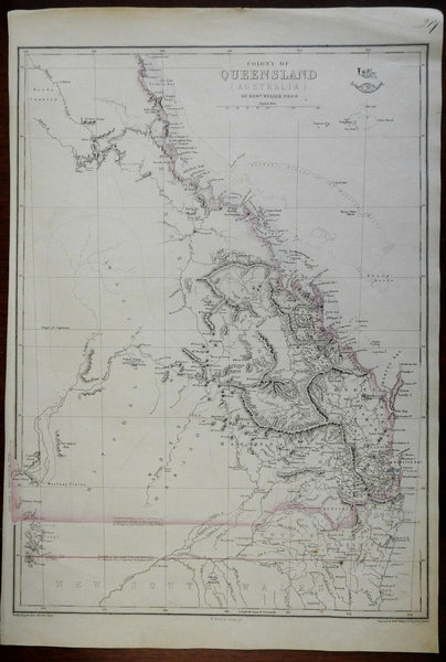 Queensland Colony Australia Brisbane Maryborough c. 1860 Weller map