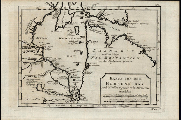 Hudson Bay Labrador Mansfield Island Canada 1744 antique engraved map