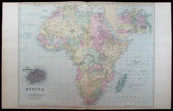 Africa continent St. Helena Nile River Delta Sahara Sudan 1886 old large map