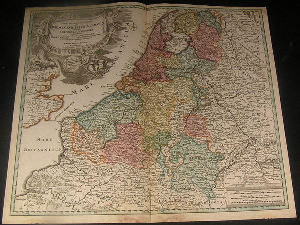 Low Countries Luxemburg Netherland Belgium 1720 Homann antique folio color map