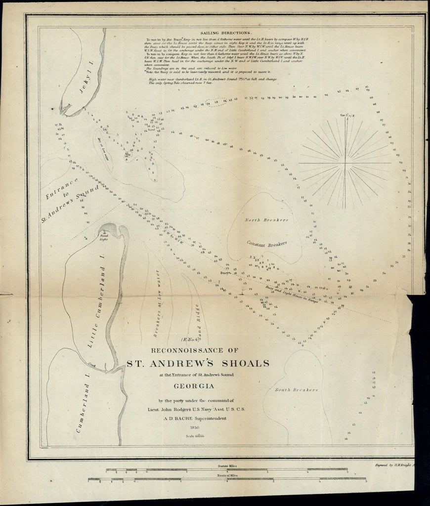 St. Andrew's Shoals Sound Entrance Georgia nice 1850 U.S.C.S. old nautical map