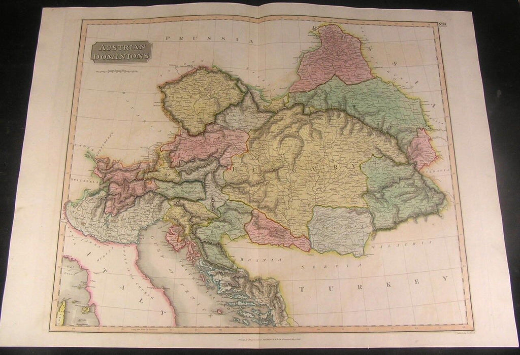 Austria Hungary Balkans 1816 Thomson folio fine antique map w/ old hand color