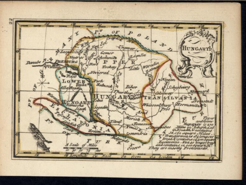 Hungary Transylvania Danube River 1758 by Bowen charming miniature antique map