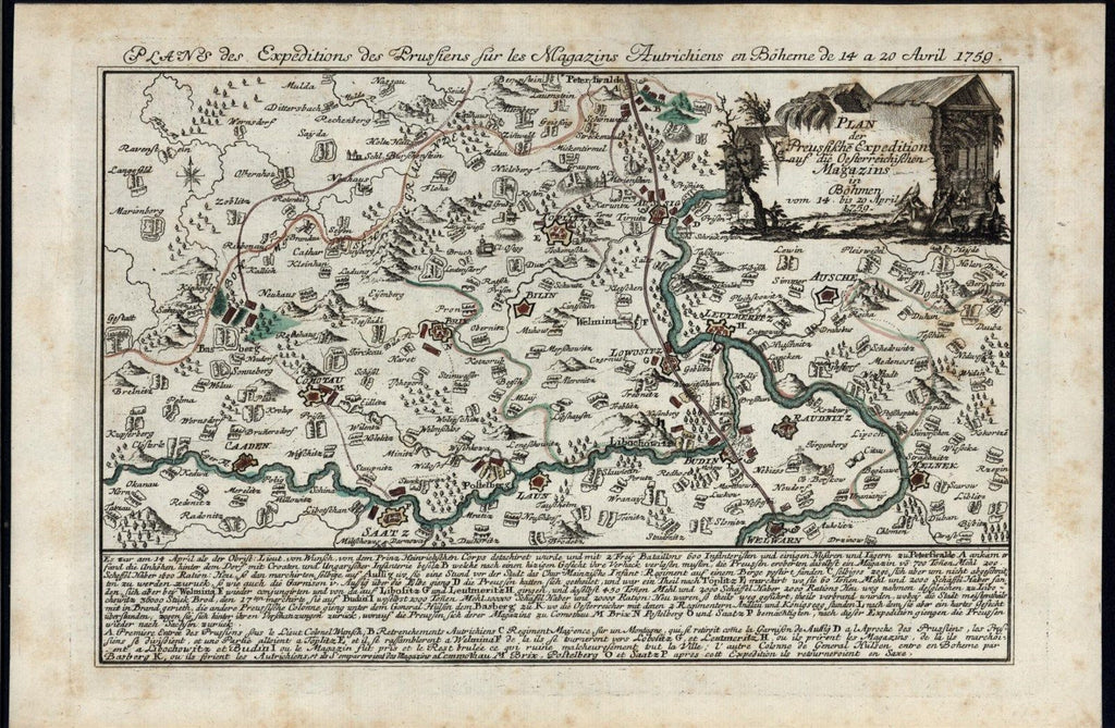 Prussian Expeditions into Bohemia 1759 antique engraved hand color map