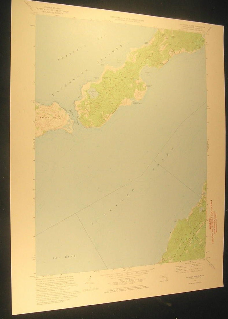 Naushon Island Dukes County Massachusetts 1973 antique color lithograph map