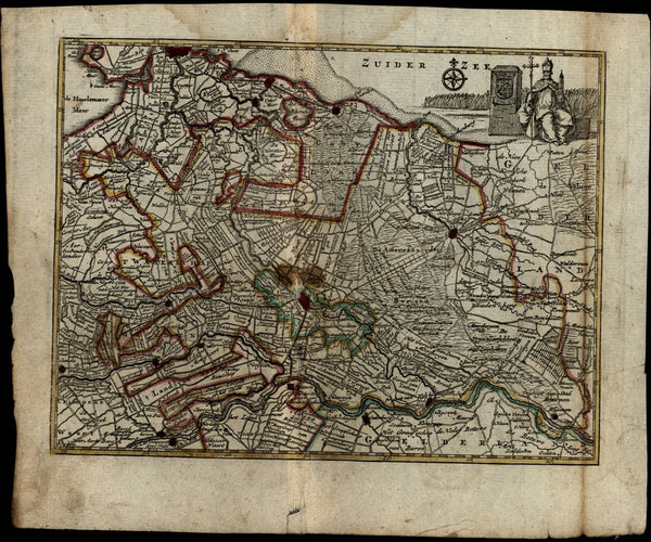 Netherlands Utrecht c.1786 Gravius Dutch province map Religious cartouche Pope