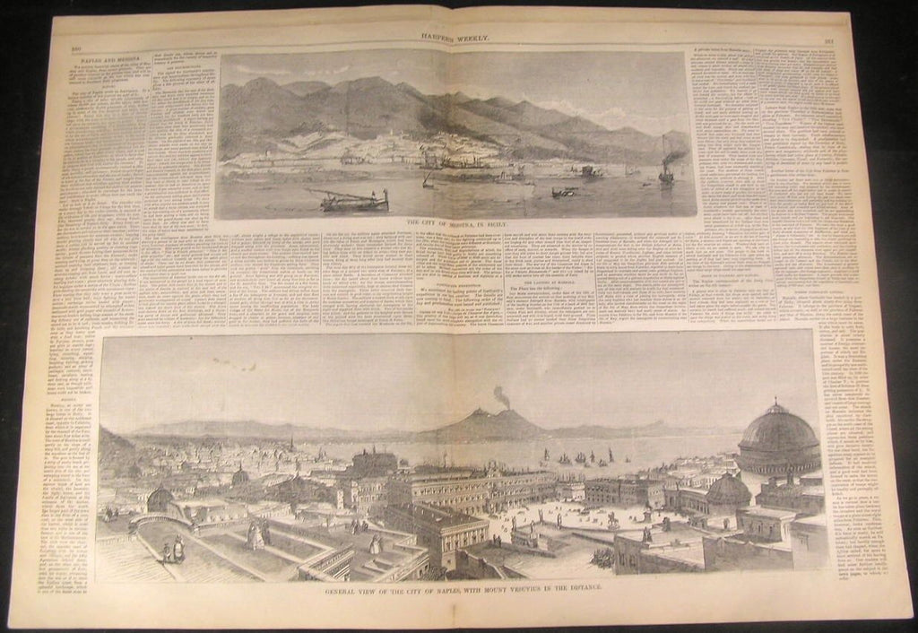 Naples Vesuvius & Messina in Sicily 1860 antique wood engraved large print
