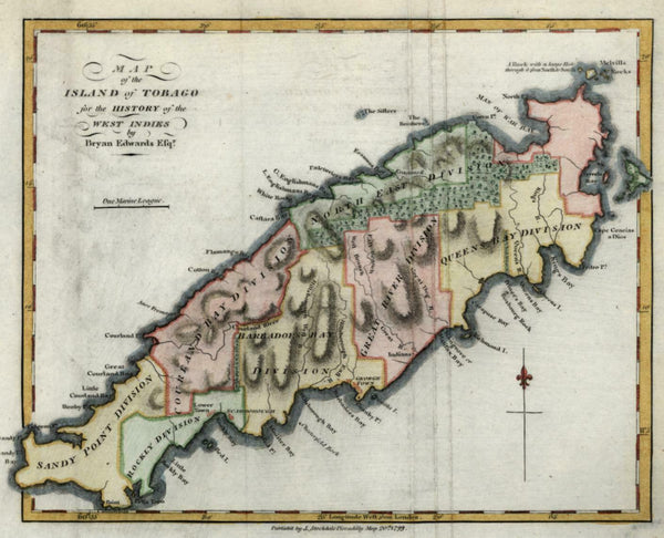 Island of Tobago West Indies Caribbean 1799 Stockdale miniature map hand color