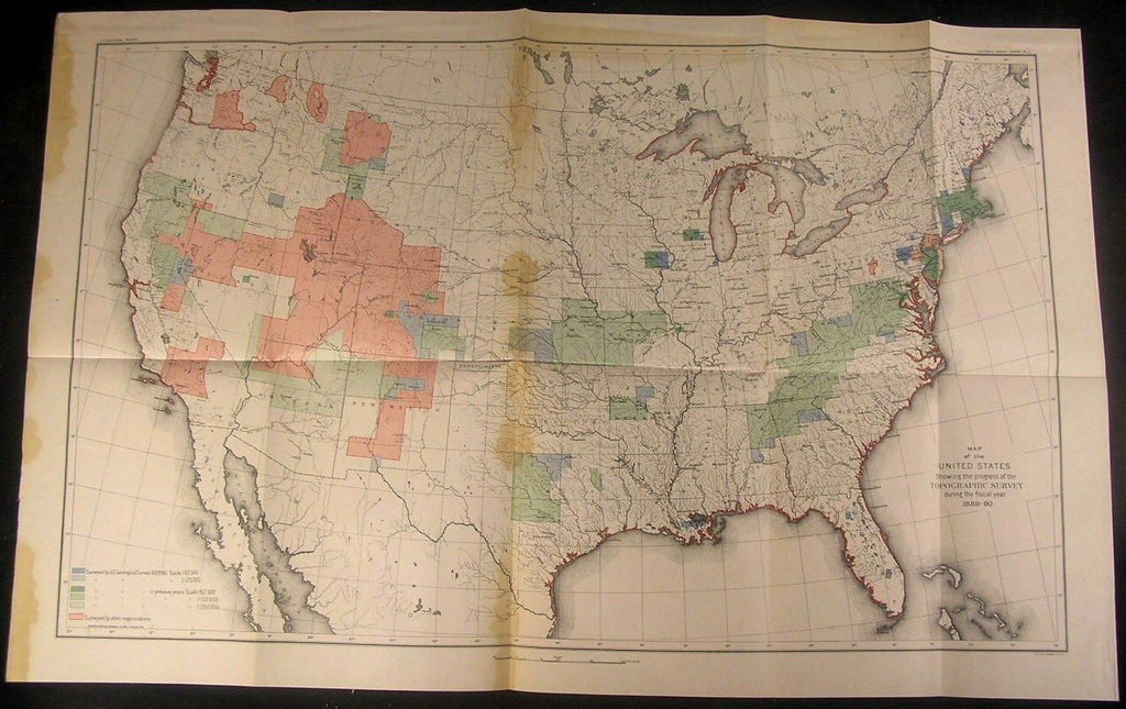 Topographic Survey of United States 1886-87 folio antique color map