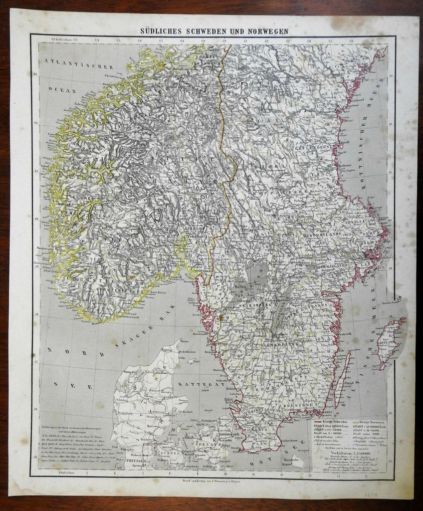 Southern Sweden & Norway Denmark Gotland 1874 Flemming detailed large map