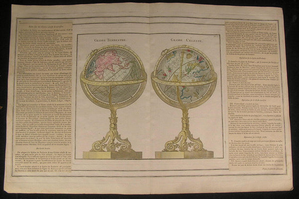 Terrestrial & Celestial Globes 1766 beautiful old vintage antique rare map