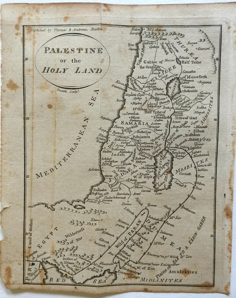Holy Land Israel Palestine Judea Exodus 12 Tribes 1796 Doolittle scarce map