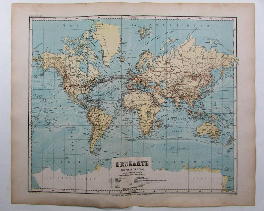 Colonial Possession Sea Shipping routes World map scarce 1873 antique German map