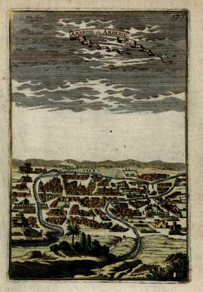 Ardebil Iran Persia Azerbaijan 1683 Mallet early lovely engraved city view