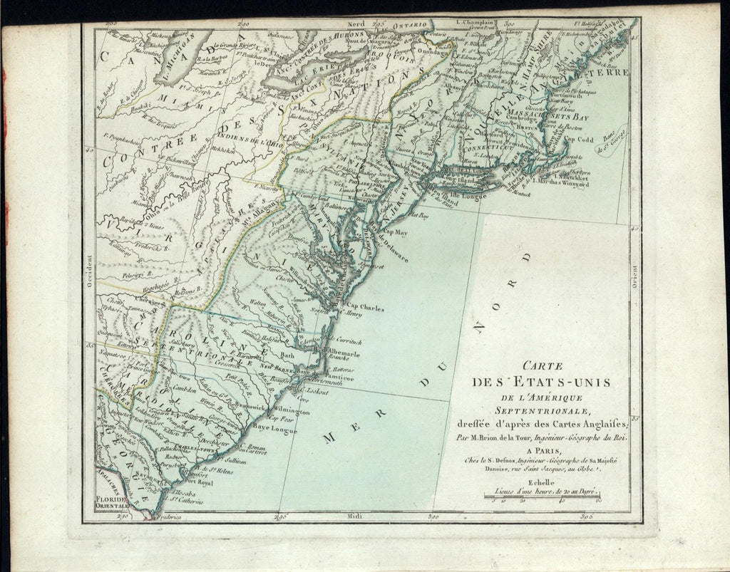 Eastern United States Southern States 1785 rare Brion Desnos old color map