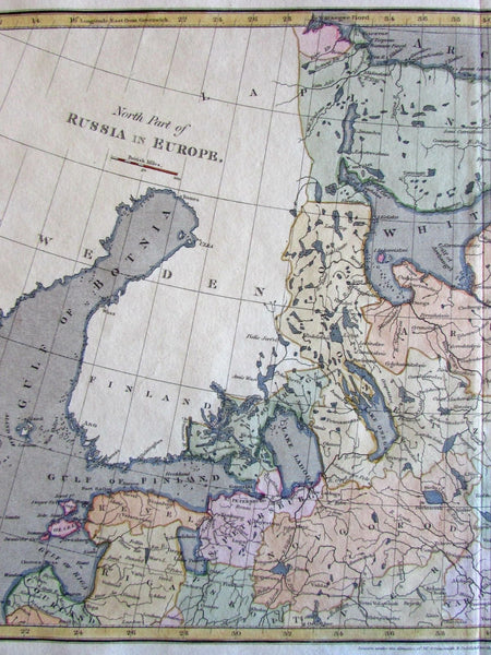 Russia in Europe c.1809 Arrowsmith Engraved Hand Color Old Map