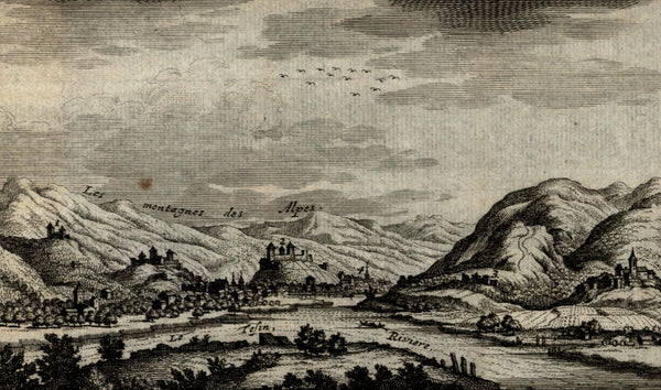 Switzerland Germany Italy Bellinzona c. 1720 Van der Aa engraved view print