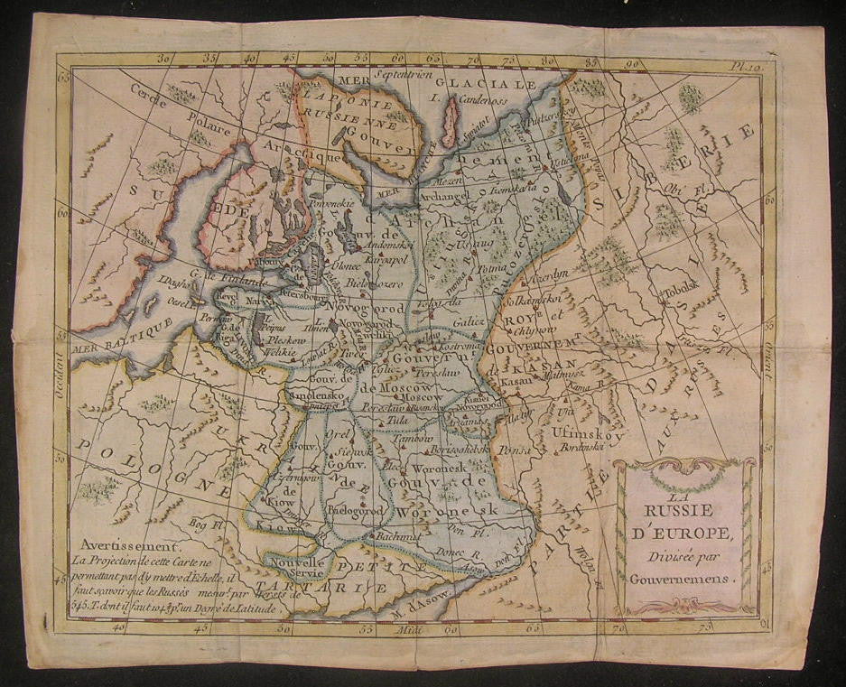 Russia in Europe c.1780 scarce fine old vintage antique map