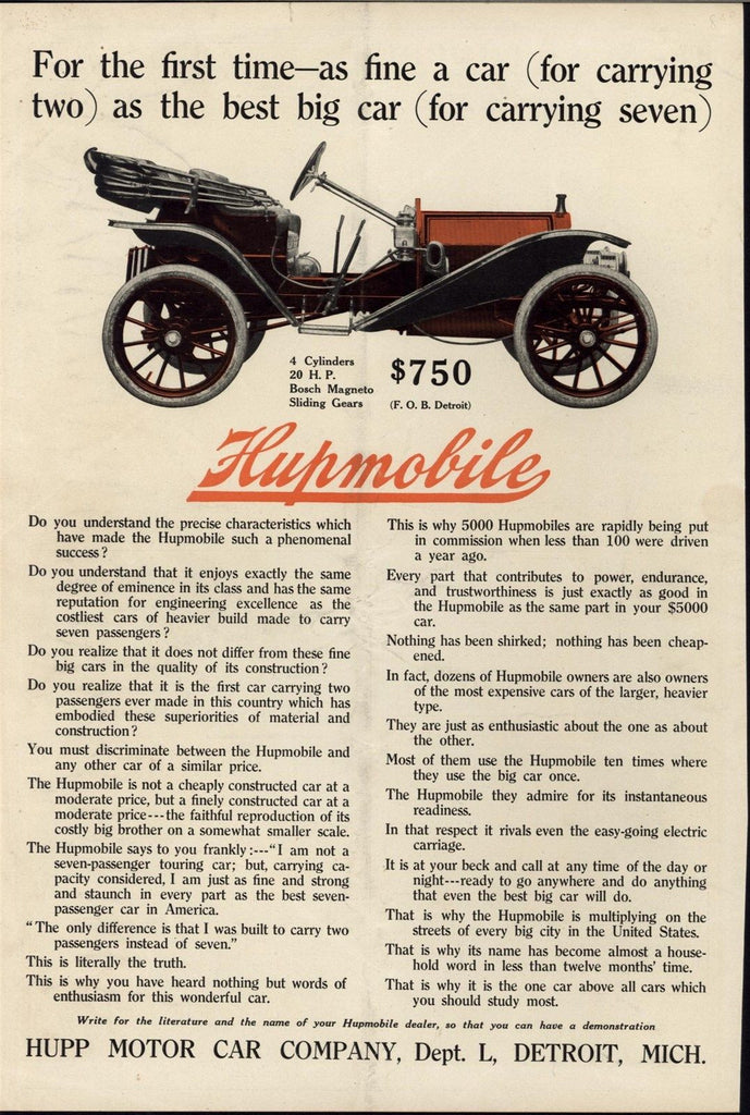 Hupmobile Family Car Convertible 1909 antique historic color advertisement print