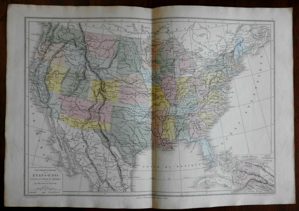 United States Post Civil War territorial western states 1872 Belin map
