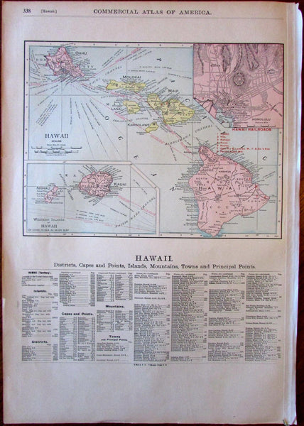 Hawaii w/ Honolulu inset Western Islands c.1910 huge Alaska map very detailed