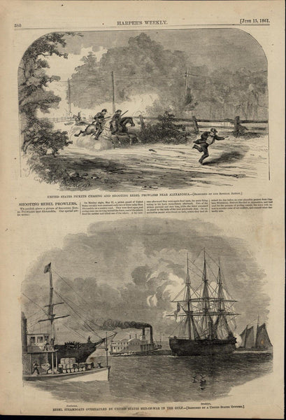 Shooting Rebel Prowlers Rebel Steamboats Gulf 1861 great old print for display