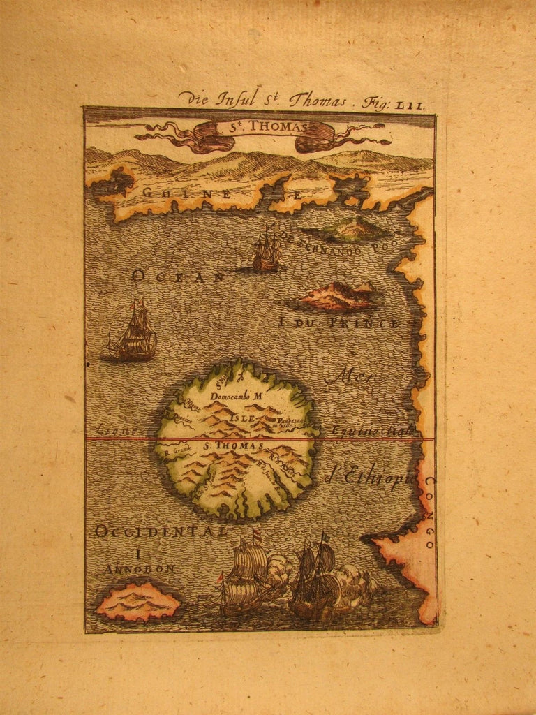 Africa coast island St. Thomas ships Guinea Congo 1719 antique engraved map