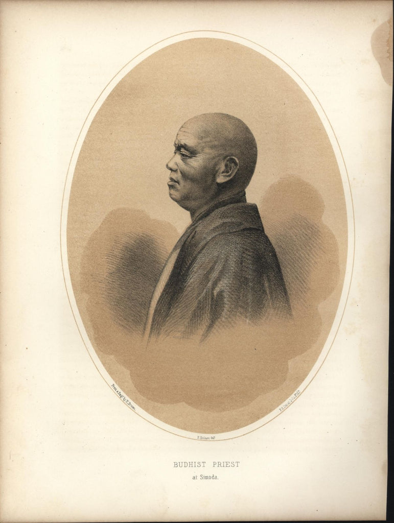Buddhist Priest Simoda 1856 Perry Expedition old litho view print