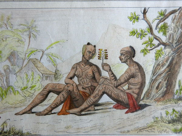 Polynesian Couple Marquisas Island Tattoos Flower 1837 scarce French ethnic view