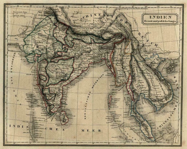 British India Raj Southeast Asia Thailand Cambodia 1854 Biller engraved map