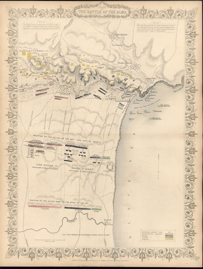 Battle of Alma Crimean Peninsula 1857 old vintage battle plan map