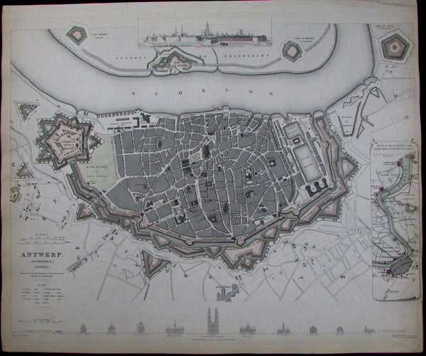 Antwerp Belgium Anvers citadel House of Reubens Exchange 1832 city plan SDUK map