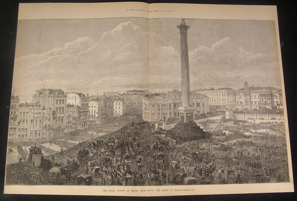Royal Review Egyptian Troops Trafalgar Square 1882 antique wood engraved print