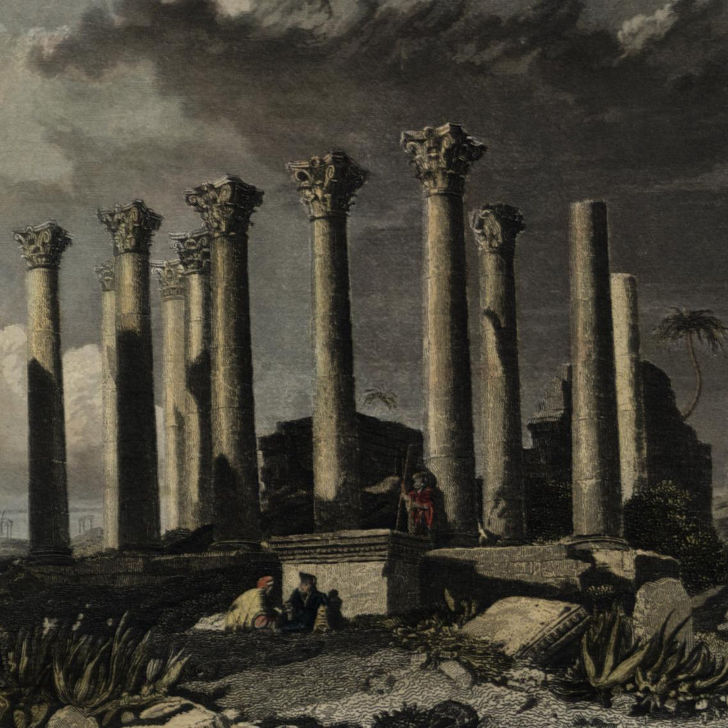 Syria ancient ruins Djerash Jerash c.1852 lovely antique print hand color