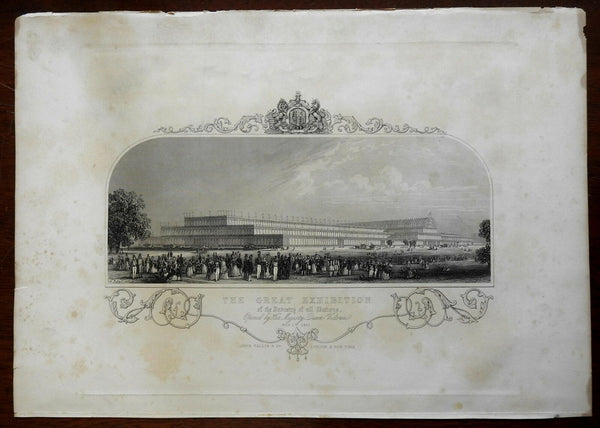 Crystal Palace of the Great Exhibition of 1851 Crowd Scene Tallis engraved print
