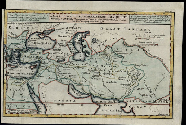 Alexander's Conquests Asia Minor 1731 E. Bowen Turkey Middle East Scythia India