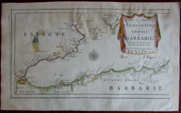 North Africa Fez Algers Barbary coast Spain Tangiers 1677 Du Val old Map