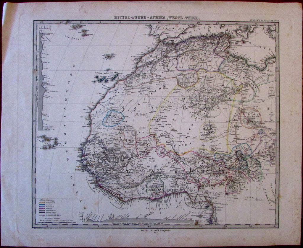 North & West Africa c.1875 exploration tracks original hand color old map