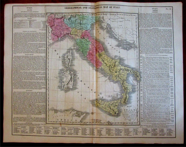 Italy Italia Geographical Statistical shows battles 1820-21 Carey large map