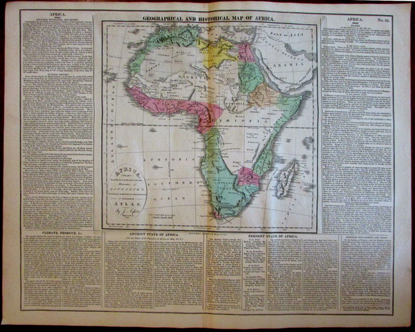 Africa Mts. of the Moon Geographical Historical trade culture 1820-21 Carey map