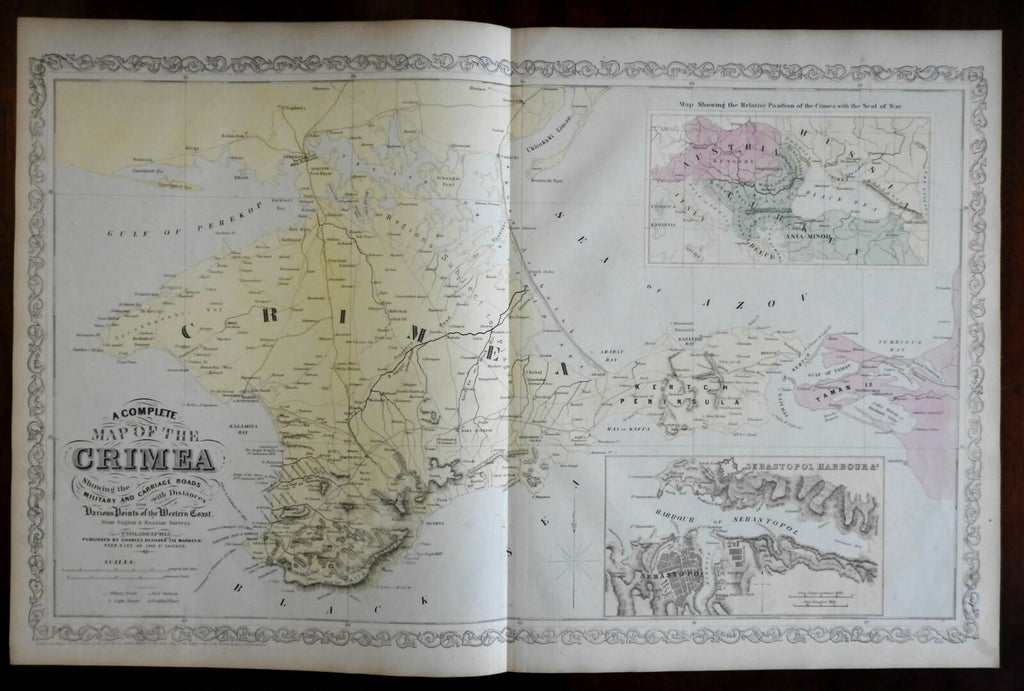 Crimean War large scarce map 1856 Military Sebastopol