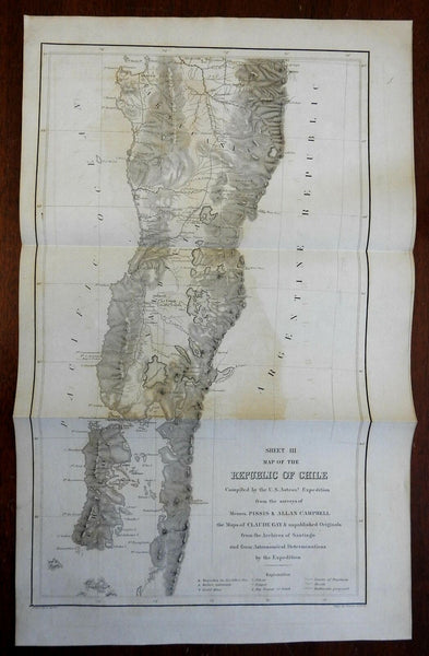 Republic of Chile Southern Portion Arauco 1855 U.S. Astronomical Expedition map