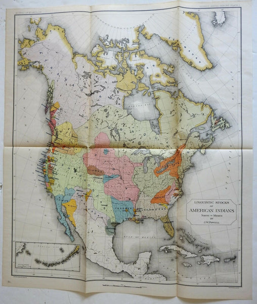 Linguistic Map of American Indians North America Sioux Iroquois 1891 Powell map