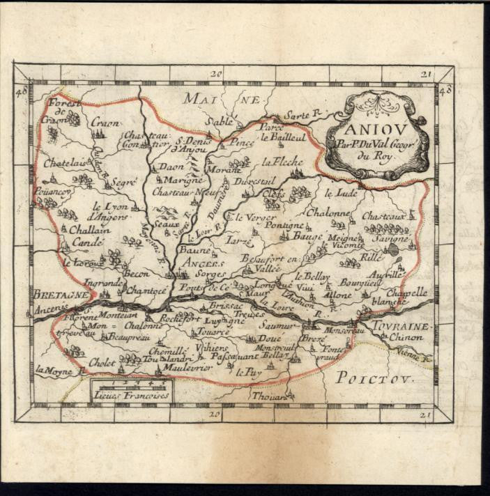 Anjou Angers Beaufort en Valley 1730 antique engraved hand color map