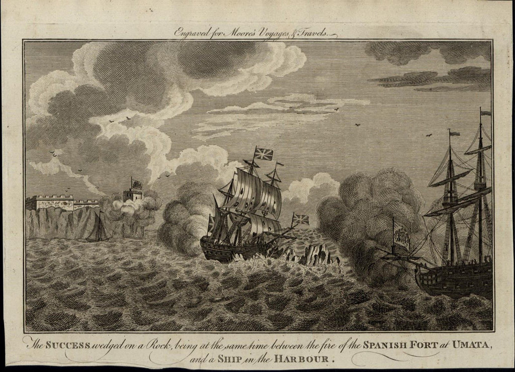 Shipwreck Naval Battle Fort Cannon Fire c. 1780's fascinating old engraved print